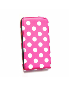 KOLAY Leather Flip Big Polka Dot One X / XL Case - Pink